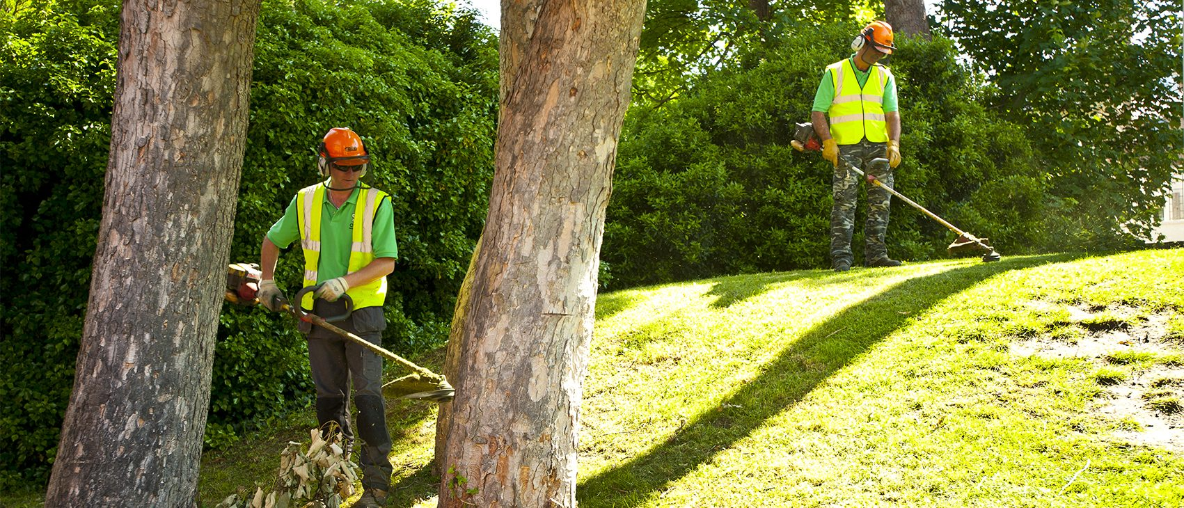 Providing grounds maintenance services <br />
